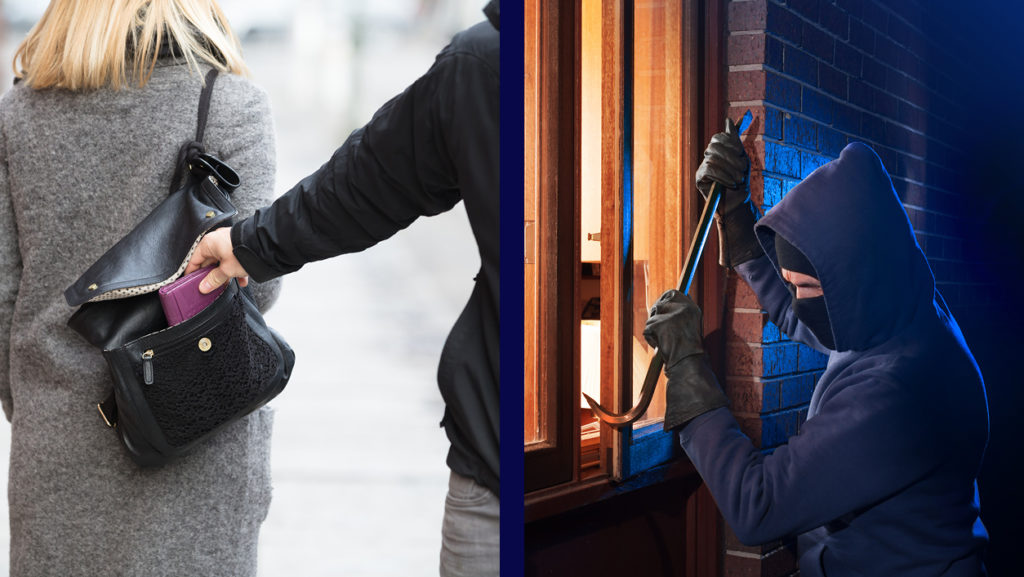 Two pictures explaining the difference between robbery and burglary